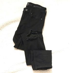 7 For All Mankind Distressed Black Skinny Jeans